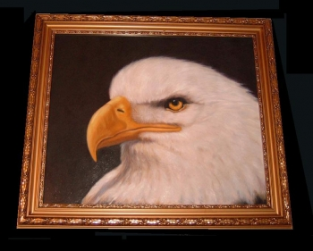 American Eagle Seeadler oil painting original Gemälde in Gold ge