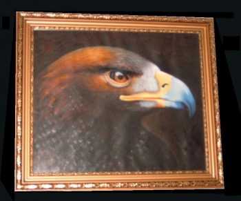Eagle Steinadler oil painting original Gemälde gerahmt in gold