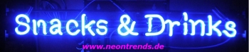 Snacks & Drinks Neonreklame Neon sign Neonschild blue