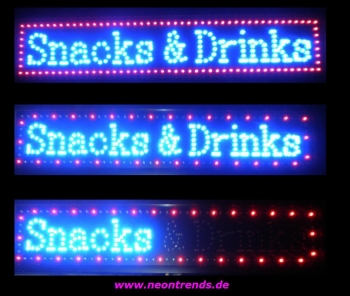 LED Schild Snacks & Drinks signs blue red sign Leuchtreklame