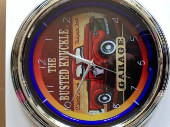 US BUSTED KNUCKLE SERVICE Wanduhr Neonuhr Neon signs clock Uhr N