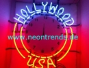 Hollywood USA Neon clock sign Wanduhr Neonuhr news